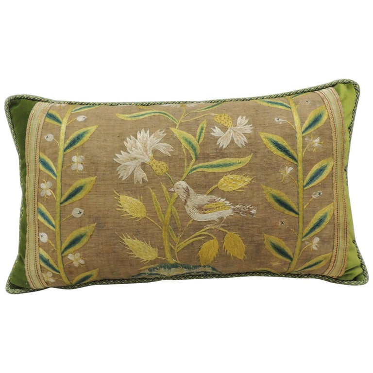 Venetian floral-embroidered decorative pillow, 19th century