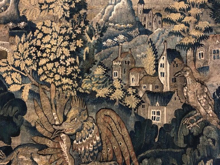 Belgian Antique Verdure Aubusson Tapestry Panel For Sale