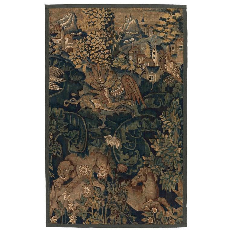 Antique Verdure Aubusson Tapestry Panel For Sale