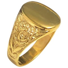 Antique Vermeil Heavy Chased Signet Ring