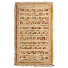 Antique Verneh Beige and Green Wool Persian Rug with Uncommon Animal Motifs