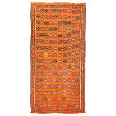 Antique Verneh Orange Persian Wool Kilim Rug
