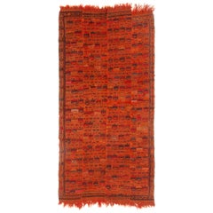Antique Verneh Traditional Orange and Red Wool Kilim Rug