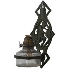 Antique Verona Cast Iron Art Deco Figural Oil Lamp Sconce Bracket