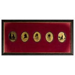 Antique Verre Églomisé Silhouettes of Classical Composers, 19th Century