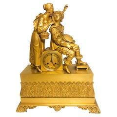 Antique Very Fine Decorated Figural Gilt Bronze Mantel Clock 19th Century France