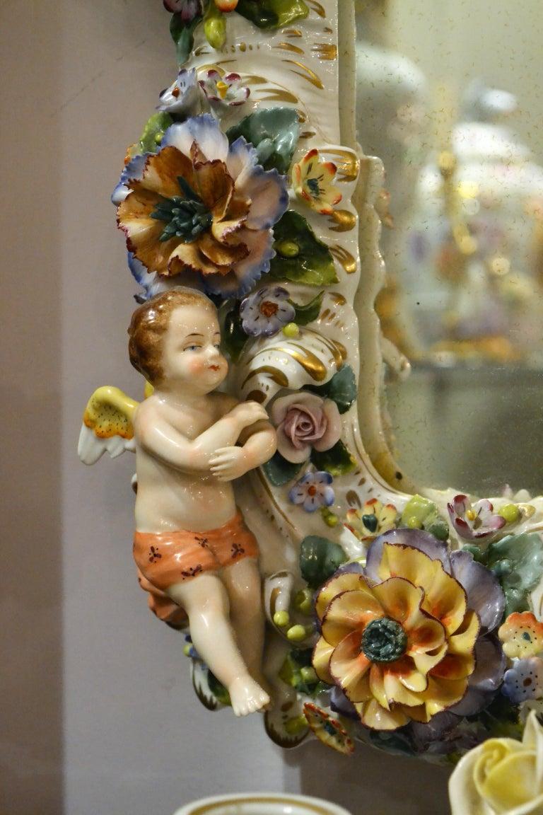 Porcelain Antique Very Fine Dresden Mirror For Sale
