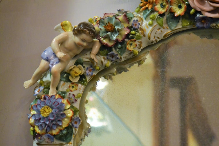 Antique Very Fine Dresden Mirror For Sale 1