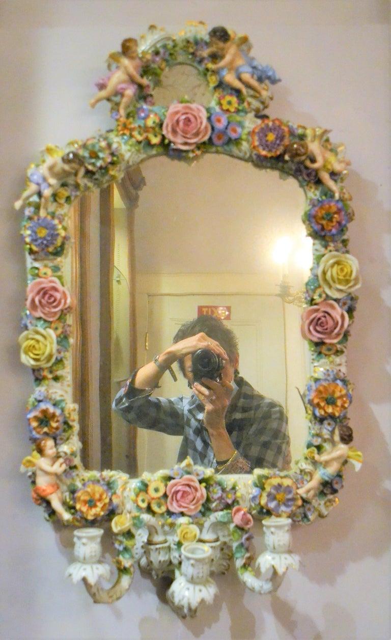 Antique Very Fine Dresden Mirror For Sale 3