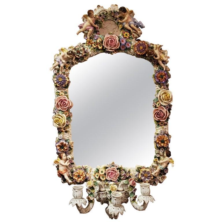 Antique Very Fine Dresden Mirror For Sale