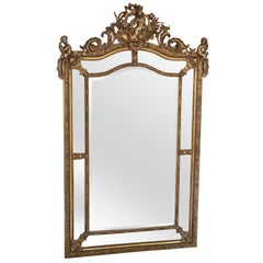 Antique Very Large Gilt Wall Floor Cushion Mirror, 19th Century