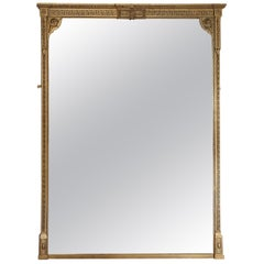 Antique Very Large Quality Gilt Overmantle Wall Mirror, 19th Century