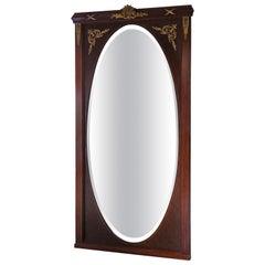 Very Large Quality Inlaid Mahogany Full Height Wall Mirror, circa 1910-1930
