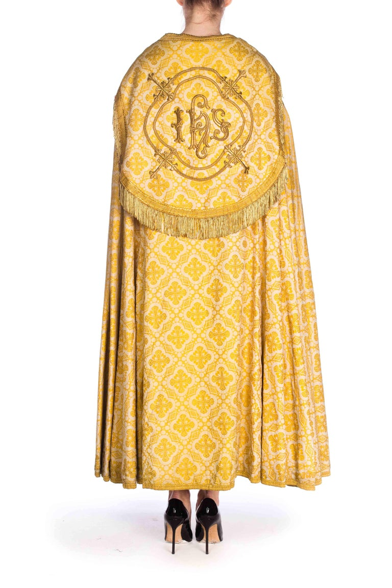Antique Vetments Brocade Floor Length Gold Cape With