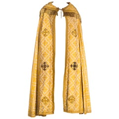 Victorian Gold Silk & Cotton Brocade Long Catholic Cape With Real Fringe Embroi