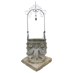 Antique Vicenza Stone Well with Sculptures of Cherubs and Festoons, 19th Century