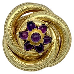 Antique Vict. Etruscan Revival Brooch Eternity Knot Amethyst Cabochon 14 Kt Gold