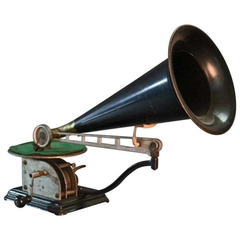 Antique Victor Victrola School Clockwork Phonograph with Horn, circa 1890 For Sale