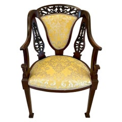 Antique Victorian Unusual Carved Mahogany Armchair