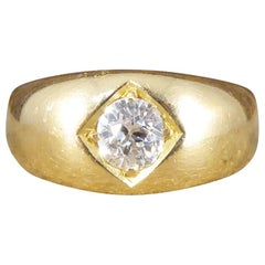 Antique Victorian 0.50 Carat Diamond Gypsy Set Ring in 18 Carat Yellow Gold