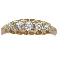 Antique Victorian 0.66 Carat Diamond and 18 Karat Yellow Gold Five-Stone Ring