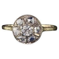 Antique Victorian 10 Karat Yellow Gold Old Euro and Rose Cut Diamond Ring