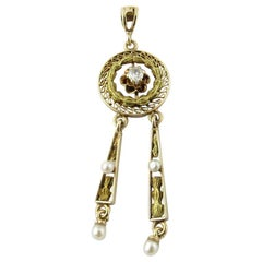 Antique Victorian 10 Karat Yellow Gold Seed Pearl and Diamond Pendant