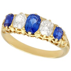 Antique Victorian 1.05 Carat Sapphire and Diamond Yellow Gold Cocktail Ring