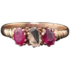 Antique Victorian 10 Karat Rose Gold Rose Cut Diamond and Ruby 3-Stone Ring