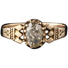 Antique Victorian 10 Karat Yellow Gold Oval Diamond Engagement Ring