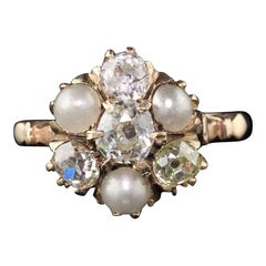 Antique Victorian 10 Karat Yellow Gold Pearl and Diamond Cluster Engagement Ring