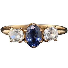 Antique Victorian 10 Karat Yellow Gold Sapphire and Diamond 3-Stone Ring