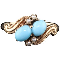 Antique Victorian 10 Karat Gold Turquoise and Seed Pearl 'Toi Et Moi' Ring