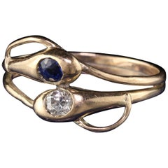 Antique Victorian 12 Karat Yellow Gold Diamond and Sapphire Double Snake Ring