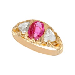 Antique Victorian 1.28ct Oval Cut Burmese Pink Sapphire and Diamond Gold Ring