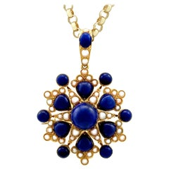 Antique Victorian 13.02 Carat Lapis Lazuli and Pearl Yellow Gold Pendant Brooch