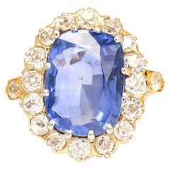 Antique Victorian 13.5 Carat Burma Sapphire Diamond Cluster Ring