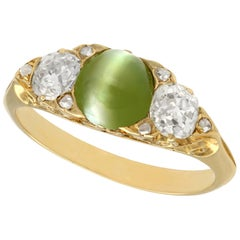 Antique Victorian 1.35 Carat Chrysoberyl and Diamond Yellow Gold Cocktail Ring