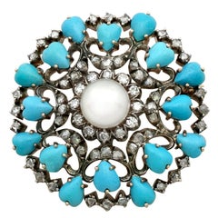 Antique Victorian 1.36 Carat Diamond Pearl and Turquoise Yellow Gold Brooch