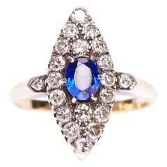 Antique, Victorian, 14 Carat Gold, Sapphire and Diamond Marquise Engagement Ring