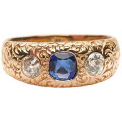Antique, Victorian, 14 Carat Yellow Gold, Sapphire and Diamond Gypsy Ring