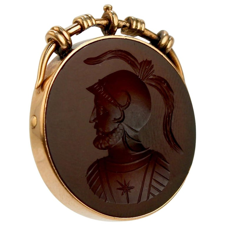 Antique Victorian 14 Karat Gold and Carved Carnelian Intaglio Charm or Pendant For Sale