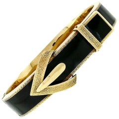 Antique Victorian 14 Karat Gold Black Enamel Hinged Bangle Mourning Bracelet