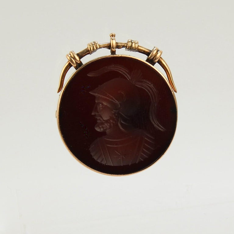Etruscan Revival Antique Victorian 14 Karat Gold and Carved Carnelian Intaglio Charm or Pendant For Sale