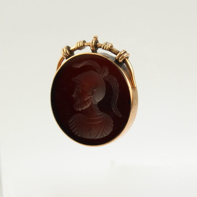 Round Cut Antique Victorian 14 Karat Gold and Carved Carnelian Intaglio Charm or Pendant For Sale