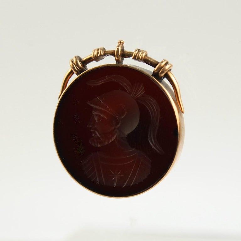 Antique Victorian 14 Karat Gold and Carved Carnelian Intaglio Charm or Pendant In Good Condition For Sale In Philadelphia, PA