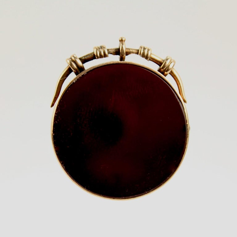 Women's or Men's Antique Victorian 14 Karat Gold and Carved Carnelian Intaglio Charm or Pendant For Sale