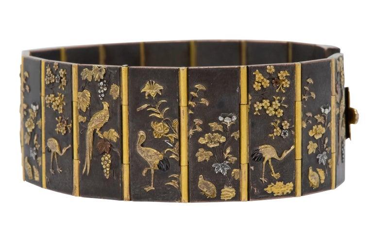 Late Victorian Antique Victorian 14 Karat Gold Copper Shakudō Bird Flower Panel Bracelet For Sale