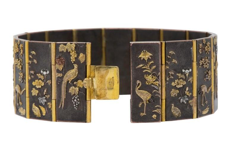Women's or Men's Antique Victorian 14 Karat Gold Copper Shakudō Bird Flower Panel Bracelet For Sale