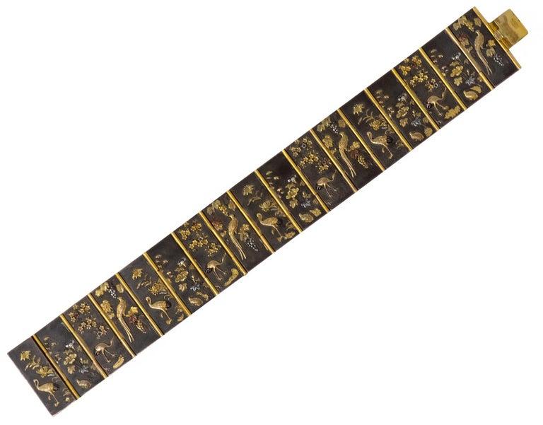 Antique Victorian 14 Karat Gold Copper Shakudō Bird Flower Panel Bracelet For Sale 1
